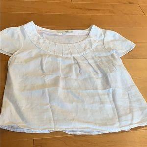Boden White Linen Cap Sleeve Top